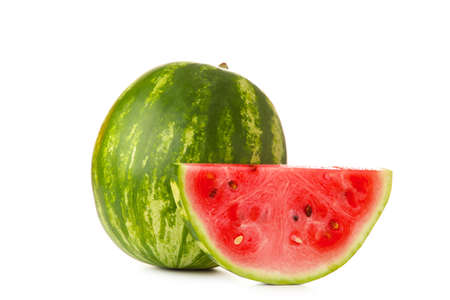 Watermelon and slice isolated on white background. Top view Foto de archivo