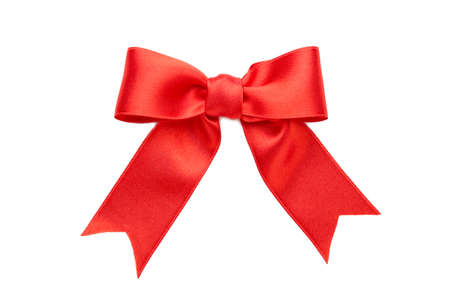 Shiny red satin bow isolated on white background. Top view