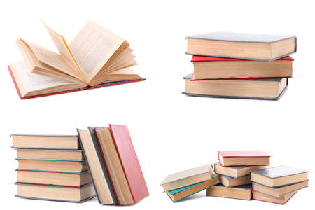 Collection of different retro books on white background. Set of old books isolated. Top view Stock Photo