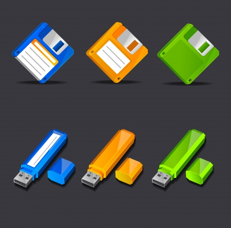 Floppy disk with flash memory icons Illustration