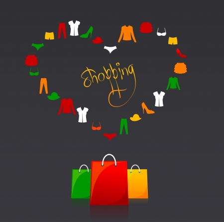 gift bags: shopping bags and text