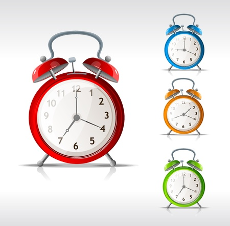 up time: Vector alarm clocks set isolated Illustration
