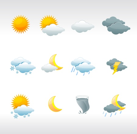 weather icons: Vector weather icons on white Illustration