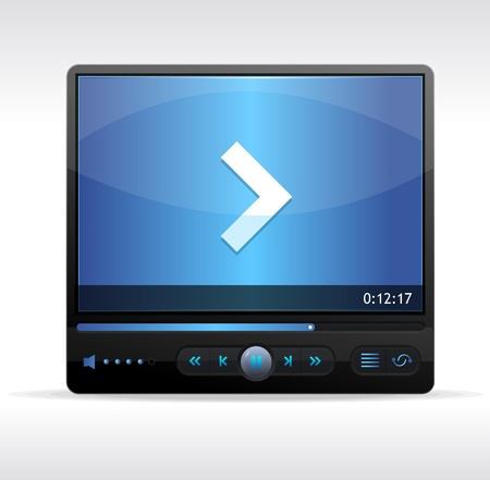player controls: Vector Video Player Skin blue isolated Illustration