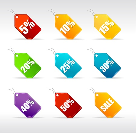 Vector sale labels set rainbow Vector