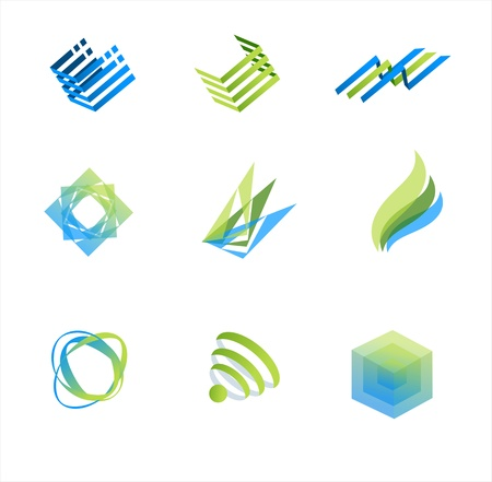Vector design elements green and blue Stock Vector - 17290287