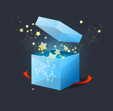 Vector box with stars illustration Vector
