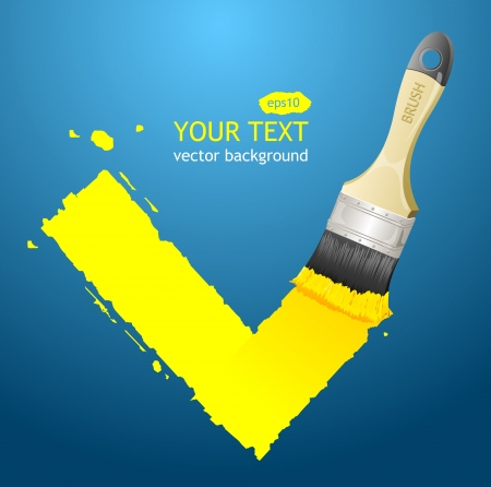 painting on the wall: Vector check and text Illustration