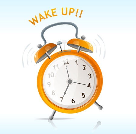 vector wake up message clock Illustration