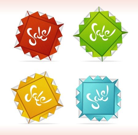 Orygami Sale symbols set vector Stock Vector - 17290325