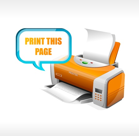 inkjet printer: Vector printer isolated on whote and text