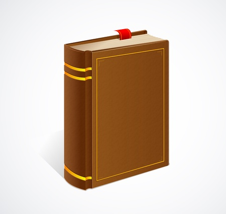 thick: Vector old book with bookmark isolated icon Illustration