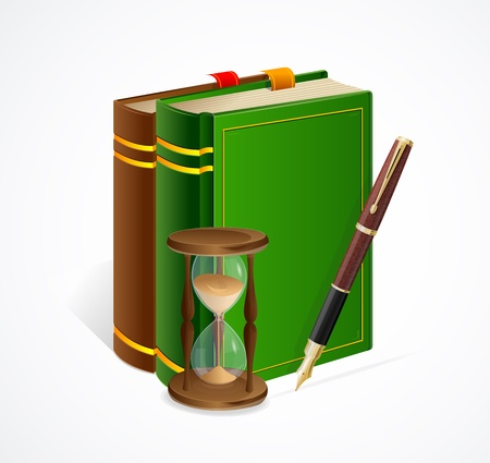 Vector old book and sand glass and pen isolated