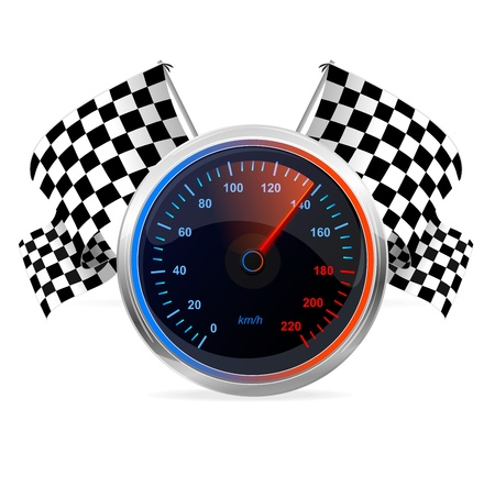 kilometre: Racing Speedometer and checkered flags  Vector Illustration