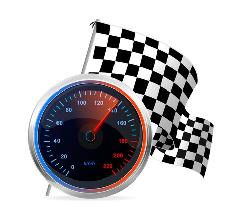 kilometre: Racing Speedometer and checkered flag  Vector Illustration