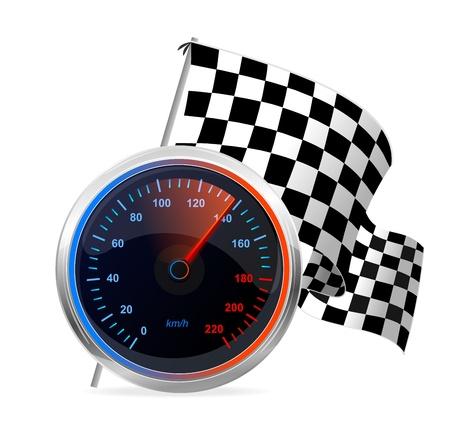 kilometre: Racing Speedometer and checkered flag  Vector Illustration