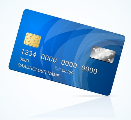 plastic card: Vector Credit Card blue icon Isolated on white Illustration
