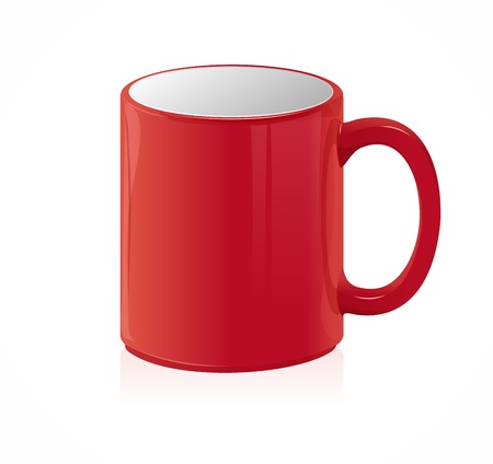 threateningly: Red coffee cup isolated on white
