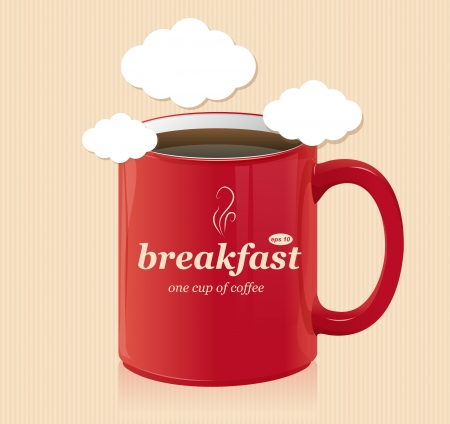 threateningly: Vector coffee cup with text breakfast Illustration