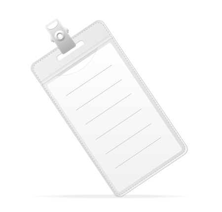 sign holder: Blank ID (identification card ) Badge isolated on white