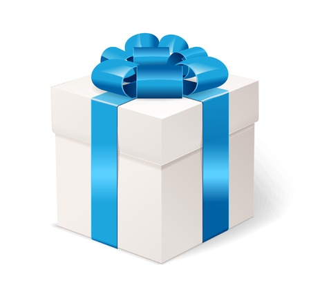 White gift box with bows and blue ribbon.