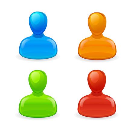 userpic: set of peoples icons blue, red, prange, green Illustration
