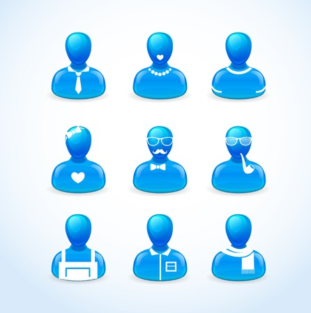 peoples: set of peoples icons blue, red, prange, green Illustration