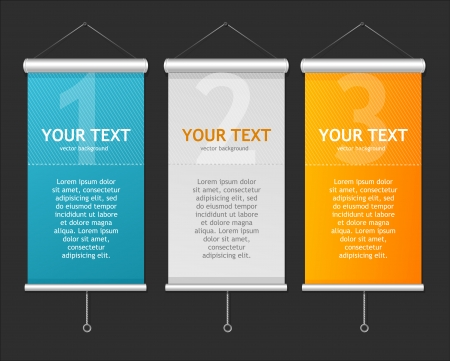 Set of Blank roll up posters. 1,2,3 concept Illustration