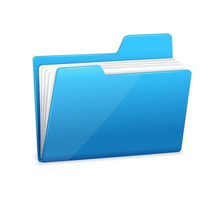 maintain: Blue file folder icon isolated on white