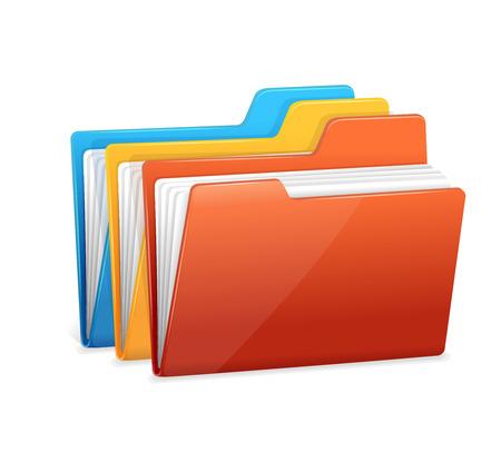 Datei-Ordner-Symbol auf weißem isoliert Vektorgrafik