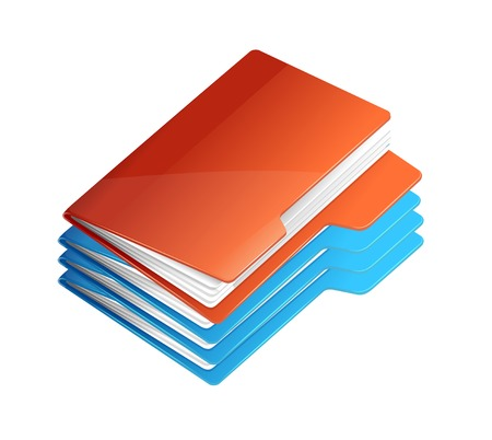 stack of files: Folders icon isolated on white
