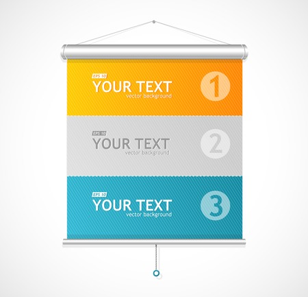 Set of Blank roll up posters. 1,2,3 concept Vector Illustration