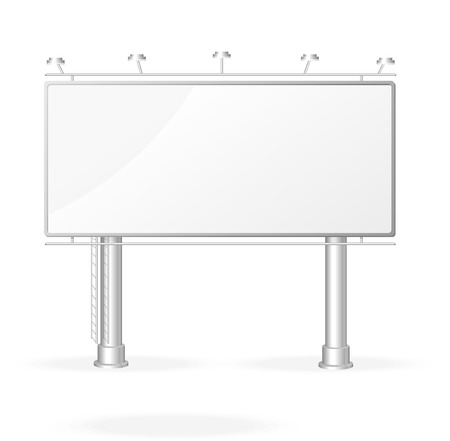 Vector white billboard screen template, isolated on white Illustration