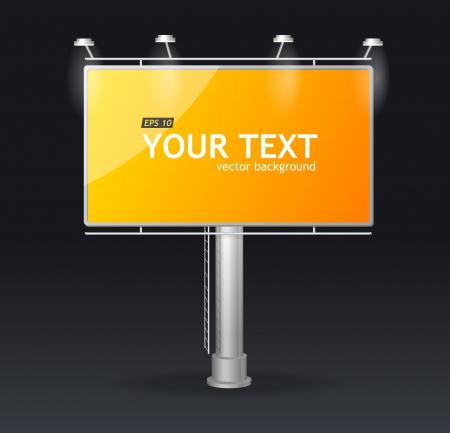 Vector yellow billboard screen on dark template for text
