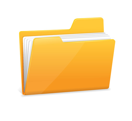 bureaucracy: Yellow file folder icon isolated on white Illustration