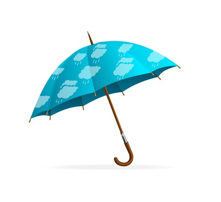 monsoon clouds: Blue Umbrella and clouds, isolated on white background Illustration