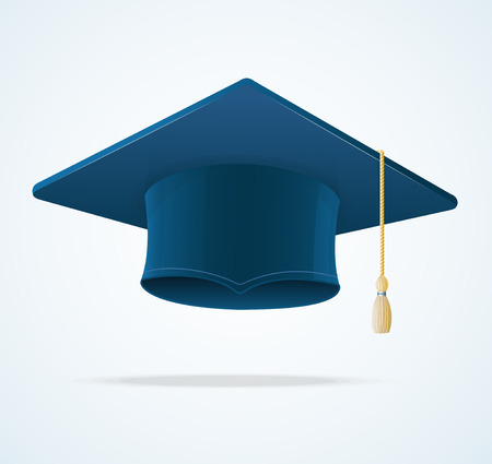 Education Cup on White Background. Graduation Cap. Student hat.
