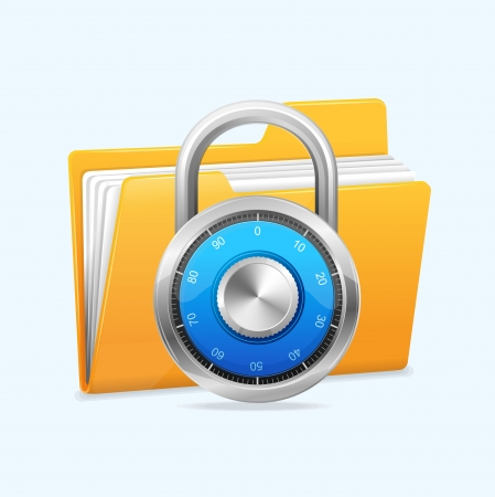 dir: Yellow computer folder and combination lock. Data security concept.