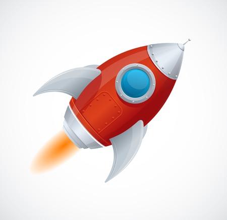 Cartoon retro iron spaceship isolated on white