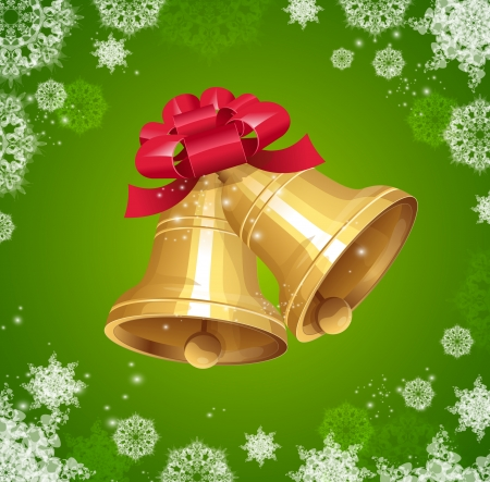 Vector gold Jingle bells with red bow Vector