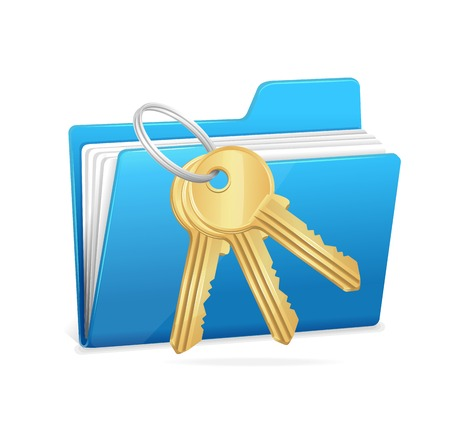 Yellow computer folder and key. Data security concept. Vector