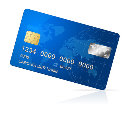 electronic card: Vector Credit Card blue icon Isolated on white Illustration