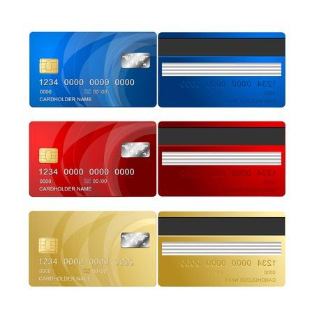 Carte de crédit de vecteur deux côtés Vecteurs