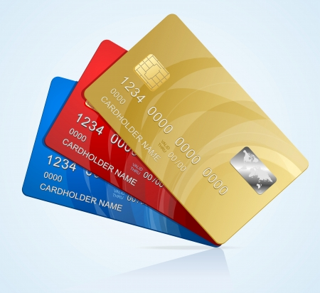 credit card debt: Vector Credit Cards isolated