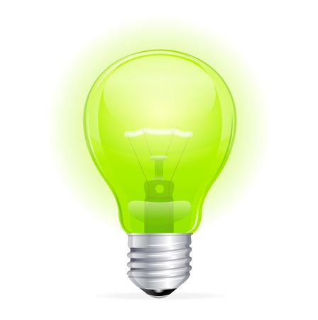 Vector green light bulb isolated on white Stock Vector - 23474568