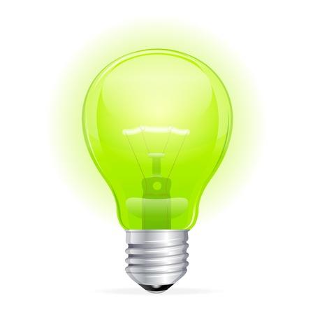 Vector green light bulb isolated on white Stock Vector - 23474568