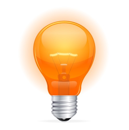 Vector red light bulb isolated on white Stock Vector - 23474575