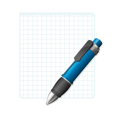 blank note: Vector blank note paper with pen Illustration