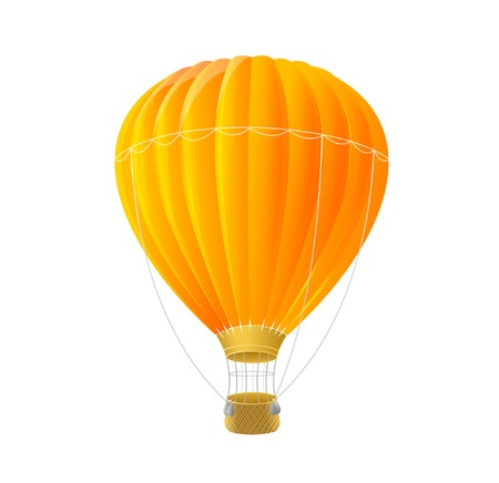 air sport: Vector orange air ballon isolated on white Illustration