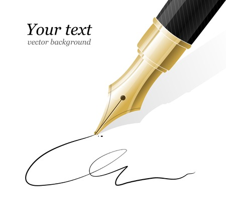 feather pen: Vector Close up of a fountain pen and signature Illustration